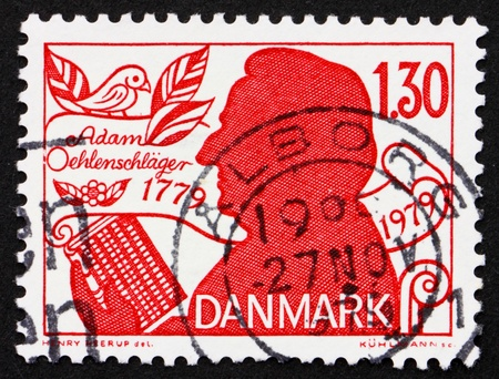dramatist: DENMARK - CIRCA 1979: a stamp printed in the Denmark shows Adam Oehlenschlager, Poet and Dramatist, circa 1979