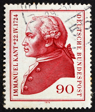 epistemology: GERMANY - CIRCA 1974: a stamp printed in the Germany shows Immanuel Kant, philosopher, circa 1974
