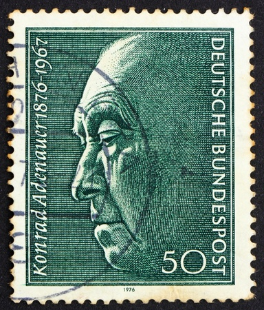 chancellor: GERMANY - CIRCA 1976: a stamp printed in the Germany shows Konrad Adenauer, Chancellor 1949-1963, circa 1976 Editorial