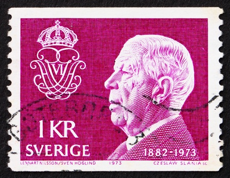 SWEDEN - CIRCA 1973: a stamp printed in the Sweden shows King Gustaf VI Adolf, circa 1973 Stock Photo - 12001786