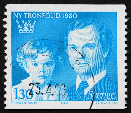 gustaf: SWEDEN - CIRCA 1980: a stamp printed in the Sweden shows King Carl XVI Gustaf and Crown Princess Victoria, circa 1980 Editorial