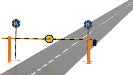 blocked: The ramp on the way to the EU, 3d render, isolated Stock Photo