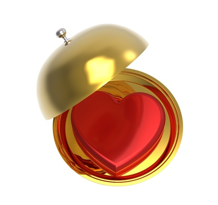 Red heart on a golden platter, isolated on white background, render photo