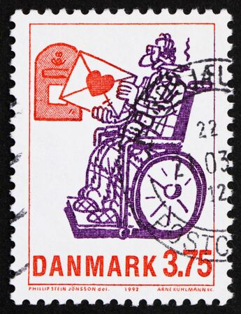 DENMARK - CIRCA 1992: a stamp printed in the Denmark shows Love Letter, by Phillip Stein Jonsson, circa 1992 photo