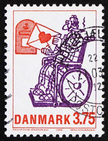 stein: DENMARK - CIRCA 1992: a stamp printed in the Denmark shows Love Letter, by Phillip Stein Jonsson, circa 1992 Stock Photo