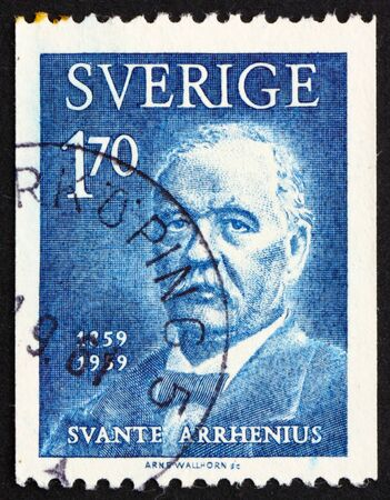 physicist: SWEDEN - CIRCA 1959: a stamp printed in the Sweden shows Svante Arrhenius, chemist and physicist, winners of the Nobel Prize for Chemistry, circa 1959 Editorial