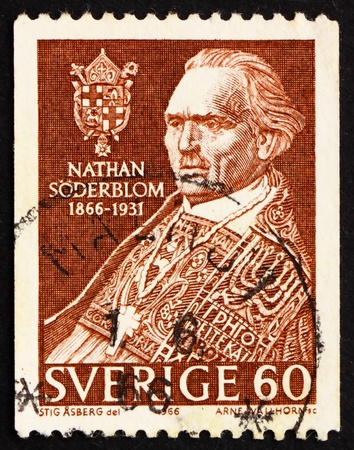 theologian: SWEDEN - CIRCA 1966: a stamp printed in the Sweden shows Nathan Soderblom, Protestant Theologian, winner of the 1930 Nobel Peace Prize, circa 1966