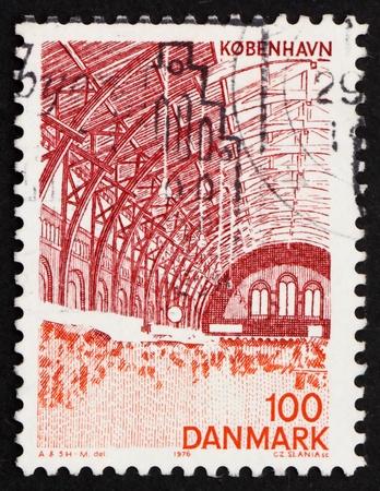 DENMARK - CIRCA 1976: a stamp printed in the Denmark shows Central Station, Interior, Copenhagen, circa 1976 photo