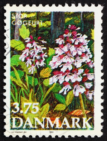 DENMARK - CIRCA 1990: a stamp printed in the Denmark shows Purple Orchis, Endangered Plant Species, circa 1990 Stock Photo - 12042368