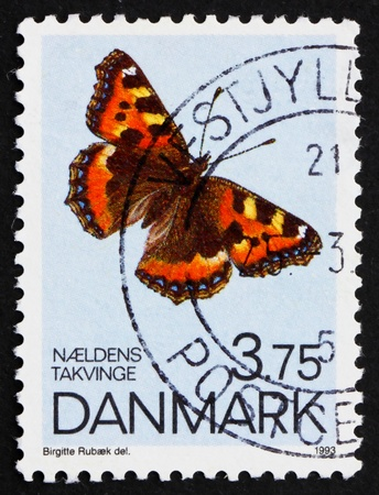 DENMARK - CIRCA 1993: a stamp printed in the Denmark shows Small Tortoiseshell, Butterfly, circa 1993 photo
