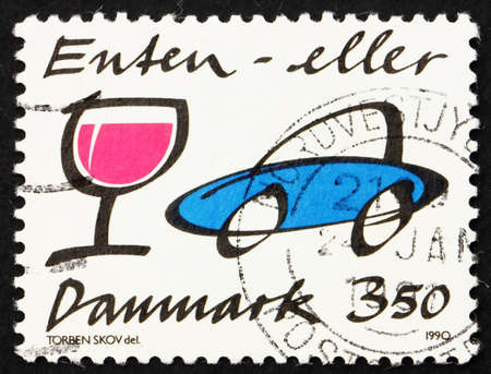drunk driving: DENMARK - CIRCA 1991: a stamp printed in the Denmark shows Stop Drunk Driving, Illustration, circa 1991