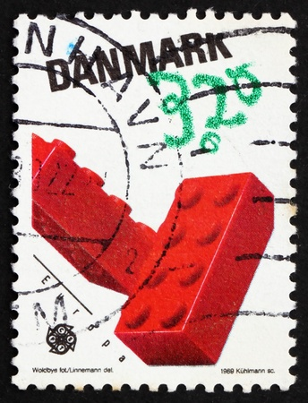 DENMARK - CIRCA 1989: a stamp printed in the Denmark shows Lego Blocks, Children�s toys, circa 1989