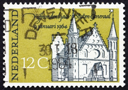 NETHERLANDS - CIRCA 1964: a stamp printed in the Netherlands shows Knights' Hall, The Hague, circa 1964 Stock Photo - 12179570