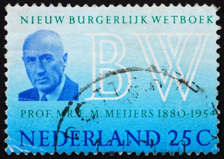 NETHERLANDS - CIRCA 1970: a stamp printed in the Netherlands shows Prof. E. M. Meijers, New Civil code, circa 1970 Stock Photo - 12059560