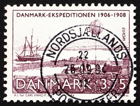 DENMARK - CIRCA 1994: a stamp printed in the Denmark shows Expedition Ship, Denmark Expedition 1906-1908, Alfred Wegener's weather balloon, circa 1994 photo