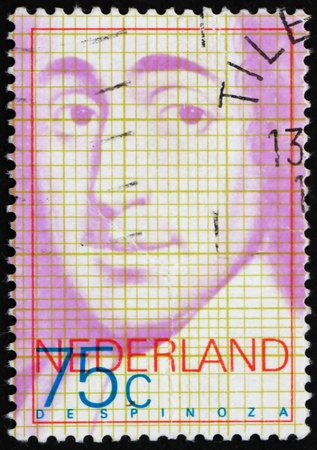 NETHERLANDS - CIRCA 1977: a stamp printed in the Netherlands shows Baruch de Spinoza, Philosopher, circa 1977