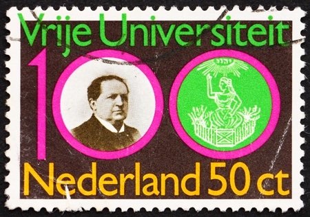NETHERLANDS - CIRCA 1980: a stamp printed in the Netherlands shows Abraham Kuyper and Emblem of Free University, circa 1980 Stock Photo - 12058464