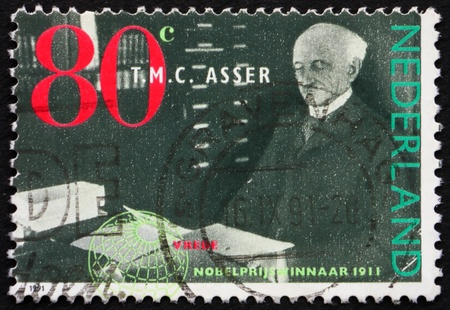 NETHERLANDS - CIRCA 1991: a stamp printed in the Netherlands shows Tobias M. C. Asser, Nobel Prize for Peace 1911 Winner, circa 1991 Stock Photo - 12058456