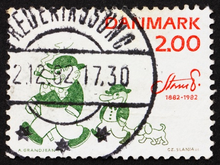 DENMARK - CIRCA 1982: a stamp printed in the Denmark shows Peter and Ping the Penguin by Robert Storm Petersen, Cartoonist and Humorist, Storm P., circa 1982