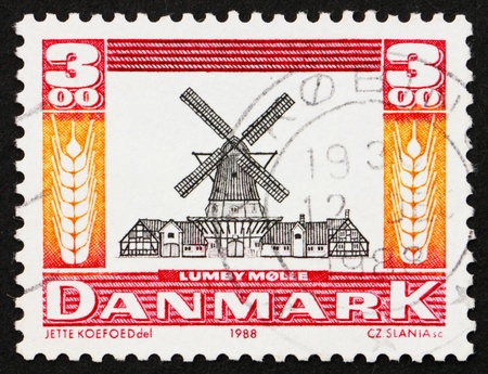 postal office: DENMARK - CIRCA 1988: a stamp printed in the Denmark shows Lumby Windmill from 1818, Preservation of Historic Sites, circa 1988
