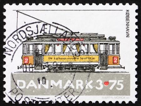 DENMARK - CIRCA 1994: a stamp printed in the Denmark shows Copenhagen Tram, circa 1994 photo