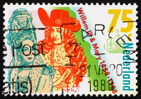 NETHERLANDS - CIRCA 1988: a stamp printed in the Netherlands shows Coronation of William III and Mary Stuart, King and Queen of England, 300th anniversary, circa 1988 Stock Photo - 12180348