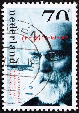 NETHERLANDS - CIRCA 1993: a stamp printed in the Netherlands shows J. D. van der Waals, Winner of Nobel Prize 1910 for Physics, circa 1993 Stock Photo - 12143566