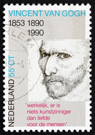 van gogh: NETHERLANDS - CIRCA 1990: a stamp printed in the Netherlands shows Self-portrait, pencil sketch, by Vincent van Gogh, circa 1990 Editorial