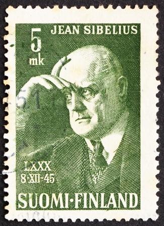 sibelius: FINLAND - CIRCA 1945: a stamp printed in the Finland shows Jean Sibelius, composer, circa 1945
