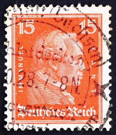 epistemology: GERMANY - CIRCA 1926: a stamp printed in the Germany shows Immanuel Kant, philosopher, circa 1926