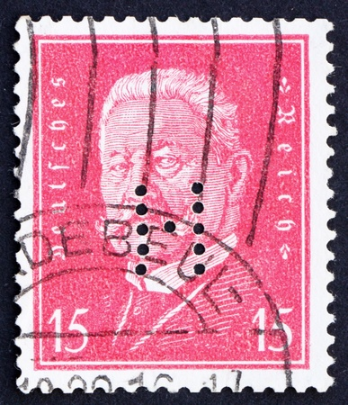 GERMANY - CIRCA 1928: a stamp printed in the Germany shows Paul von Hindenburg, 2nd President of the German Reich, circa 1928 Stock Photo - 12179759