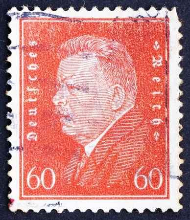 GERMANY - CIRCA 1928: a stamp printed in the Germany shows Friedrich Ebert, 1st President of the German Reich, circa 1928 Stock Photo - 12179765