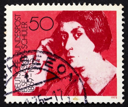 else: GERMANY - CIRCA 1975: a stamp printed in the Germany shows Else Lasker-Schuler, poet and playwright, circa 1975