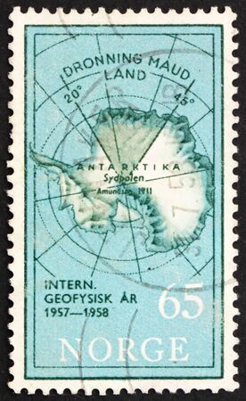 NORWAY - CIRCA 1956: a stamp printed in the Norway shows Map of South Pole with Queen Maud Land, International Geophysical Year, circa 1956 photo