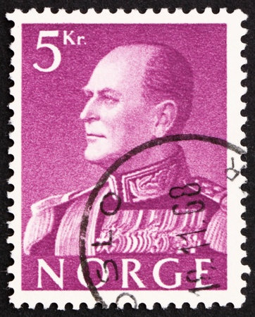 NORWAY - CIRCA 1959: a stamp printed in the Norway shows King Olav V, circa 1959 Stock Photo - 12160025
