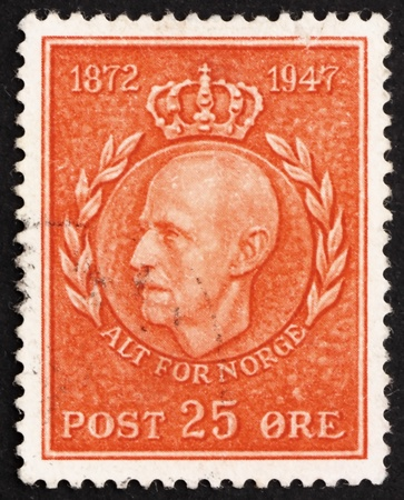 NORWAY - CIRCA 1947: a stamp printed in the Norway shows King Haakon VII, 75th Birthday, circa 1947 Stock Photo - 12179720