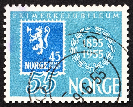NORWAY - CIRCA 1955: a stamp printed in the Norway shows Stamp Reproduction, Centenary of Norway�s First Postage Stamp, circa 1955 photo
