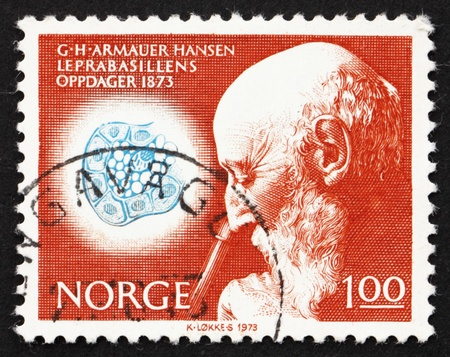 lepra: NORUEGA - CIRCA 1973: un sello impreso en la Noruega pone de manifiesto el Dr. Armauer G. Hansen y Dibujo de bacilo de la lepra, alrededor del a�o 1973