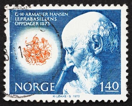 lepra: NORUEGA - CIRCA 1973: un sello impreso en la Noruega pone de manifiesto el Dr. Armauer G. Hansen y Vista microsc�pica del bacilo de la lepra, alrededor del a�o 1973