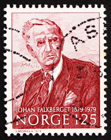 NORWAY - CIRCA 1979: a stamp printed in the Norway shows Johan Falkberget, novelist, circa 1979 Stock Photo - 12257471