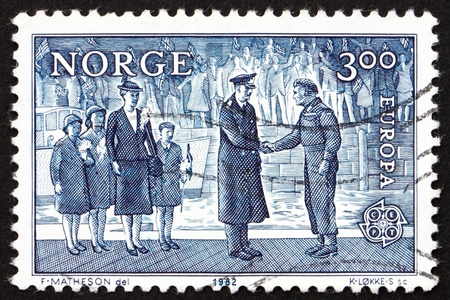 NORWAY - CIRCA 1982: a stamp printed in the Norway shows King Haakon VII, King of Norway and Prince Olav, circa 1982