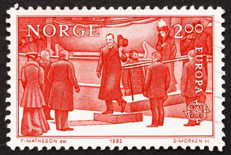 NORWAY - CIRCA 1982: a stamp printed in the Norway shows King Haakon VII, King of Norway, circa 1982 Stock Photo - 12257472