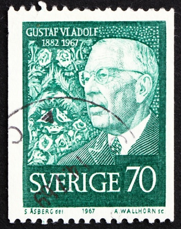 SWEDEN - CIRCA 1967: a stamp printed in the Sweden shows King Gustaf VI Adolf, 85th birthday, circa 1967 Stock Photo - 12257470