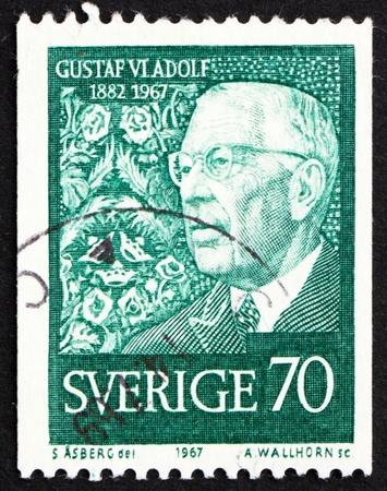 gustaf: SWEDEN - CIRCA 1967: a stamp printed in the Sweden shows King Gustaf VI Adolf, 85th birthday, circa 1967 Editorial