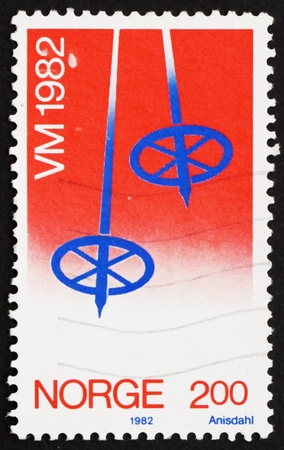 NORWAY - CIRCA 1982: a stamp printed in the Norway shows Ski Pole, circa 1982 photo