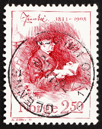 NORWAY - CIRCA 1983: a stamp printed in the Norway shows Jonas Lie, Writer, circa 1983 Stock Photo - 12257479
