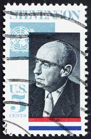 UNITED STATES OF AMERICA - CIRCA 1965: a stamp printed in the USA shows Adlai E. Stevenson II, Governor of Illinois, 5th US Ambassador to the UN, 1961-65, circa 1965