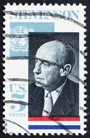 ambassador: UNITED STATES OF AMERICA - CIRCA 1965: a stamp printed in the USA shows Adlai E. Stevenson II, Governor of Illinois, 5th US Ambassador to the UN, 1961-65, circa 1965