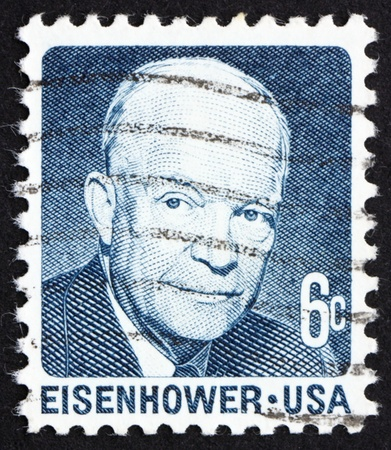eisenhower: UNITED STATES OF AMERICA - CIRCA 1970: a stamp printed in the USA shows Dwight David Eisenhower, 34th President of US, 1953-61, circa 1970 Editorial