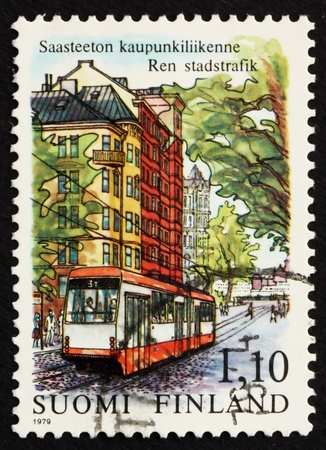 FINLAND - CIRCA 1979: a stamp printed in the Finland shows Streetcar, Helsinki, Non-polluting Urban Transportation, circa 1979 photo
